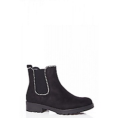 Quiz - Black diamante Chelsea ankle boots