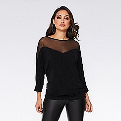 Quiz - Black mesh 3/4 sleeve batwing top