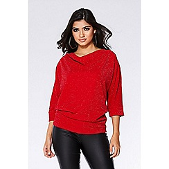 Quiz - Red glitter cowl neck batwing top