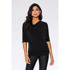 Quiz - Black glitter 3/4 sleeve batwing top
