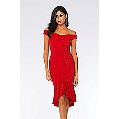 Quiz - Red glitter Bardot dip hem dress