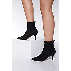 Quiz - Black faux suede sock ankle boots