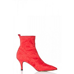 Quiz - Red faux suede sock ankle boots