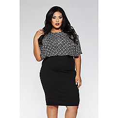 Quiz - Curve black and silver square design midi dress