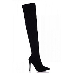 Quiz - Towie black over the knee point stiletto boots