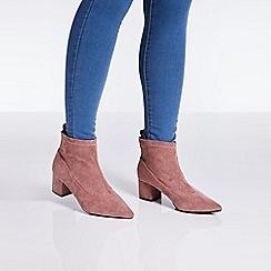 Quiz - Blush pink faux suede ankle boots