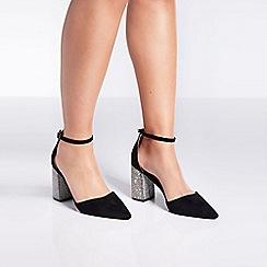 Quiz - Black diamante block heel point court shoes
