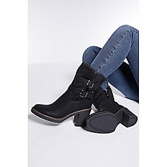 Quiz - Black faux fur fold over ankle boots