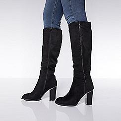 Quiz - Black diamante stripe knee high boots