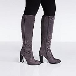 Quiz - Grey diamante stripe knee high boots