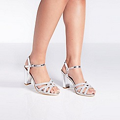 Quiz - Silver shimmer strap heel sandals