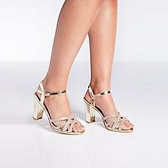 Quiz - Gold shimmer strap heel sandals
