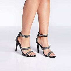 Quiz - Black diamante triple strap heeled sandals