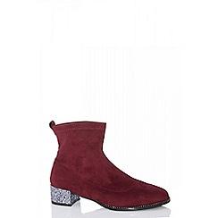 Quiz - Burgundy faux suede jewel heel sock boots