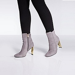 Quiz - Grey faux suede gold skinny heel ankle boots