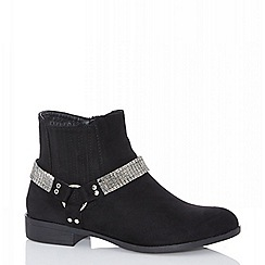 Quiz - Black diamante strap western ankle boots