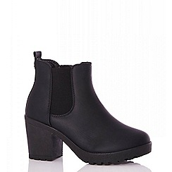 Quiz - Black faux leather chunky ankle boots