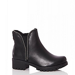 Quiz - Black stud detail chunky Chelsea boots