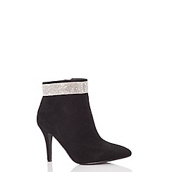 Quiz - Black diamante heeled ankle boots