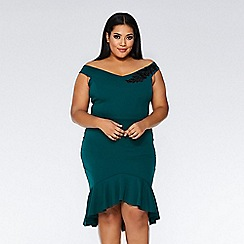 Quiz - Curve bottle green bardot frill midi dress