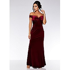 Quiz - Berry velvet bardot knot front fishtail maxi dress
