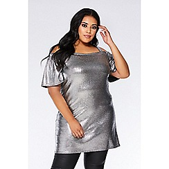 Quiz - Curve silver foil cold shoulder tunic dress