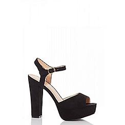 44e7787decc Quiz - Black faux suede platform heels sandals