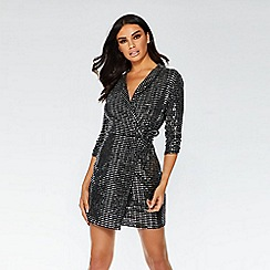 Quiz - Towie black and silver sequin wrap dress