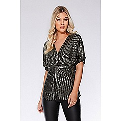 Quiz - Gold and black sequin knot front top