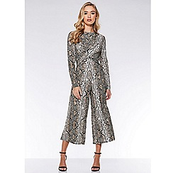 Quiz - Stone and black snake knot front culotte jumpsuit
