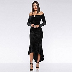 Quiz - Black and silver velvet glitter dip hem maxi dress