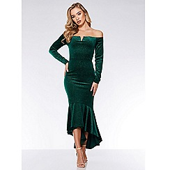Quiz - Bottle green velvet glitter dip hem maxi dress