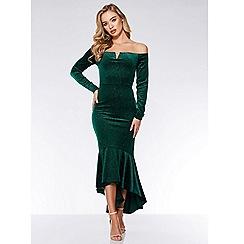 Quiz - Bottle green velvet glitter dip hem maxi dress