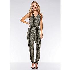 Quiz - Black and gold glitter leopard print jumpsuit