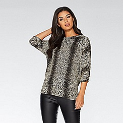 Quiz - Black and gold glitter leopard print top