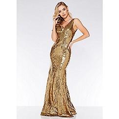 Quiz - Gold sequin v neck fishtail maxi dress