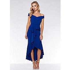 Quiz - Royal blue crepe bardot frill dip hem maxi dress