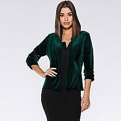 Quiz - Bottle green velvet lapel blazer jacket
