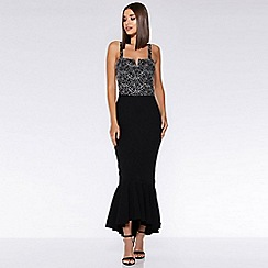 Quiz - Silver and black lace fishtail dip hem dress