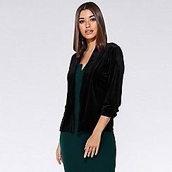 Quiz - Black velvet lapel blazer jacket
