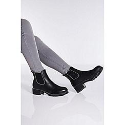 Quiz - Towie black stud trim Chelsea ankle boots