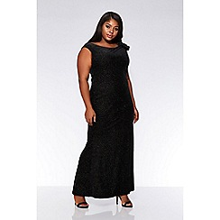 Quiz - Curve black glitter velvet side bow maxi dress