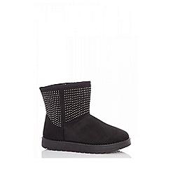 Quiz - Black flat glitter ankle boots