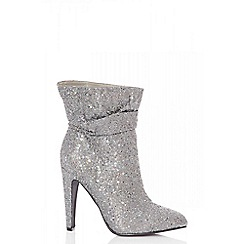 Quiz - Pewter glitter ruched calf boots