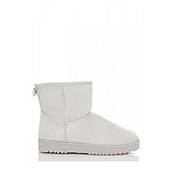 Quiz - Silver flat glitter ankle boots