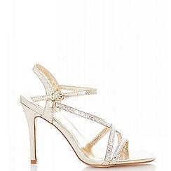 Quiz - Gold diamante strap heel sandals