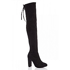 Quiz - Black over the knee block heel boots