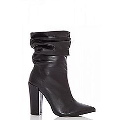 Quiz - Black slouch chunky heel calf boots