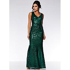 Quiz - Emerald green sequin v neck maxi dress
