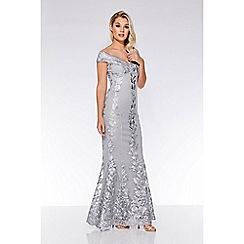 Quiz - Grey mesh embroidered bardot maxi dress